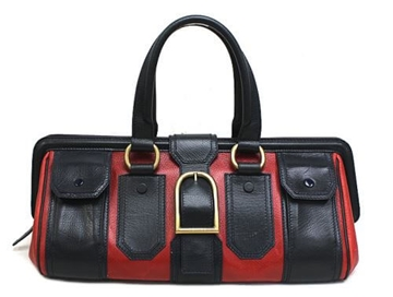 Céline Belt Motif Leather Navy Blue and Red Vintage Top Handle Bag