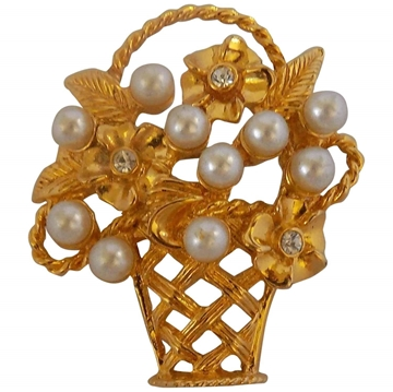 Vintage Basket of Flowers faux pearl and gold-tone brooch