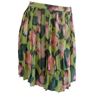 Blumarine Folie Pleated Floral Green and Pink Vintage Midi Skirt