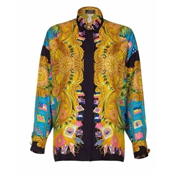 Gianni Versace Couture 1990s Silk Baroque flag print vintage shirt