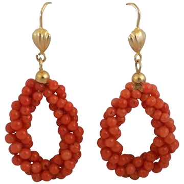 Vintage 1990s Ball Shaped 18kt Gold Red Coral Earrings