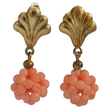 Vintage 1990s Shell Pendant Silver Pink Coral Earrings