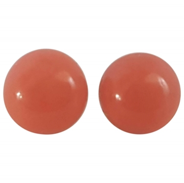 Vintage 18kt Gold & Red Coral ball Earrings