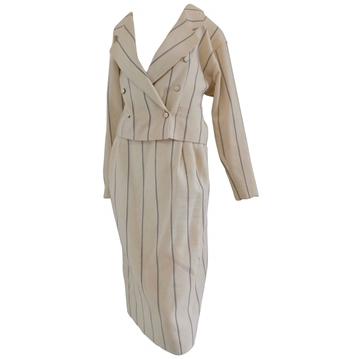 Emanuel Ungaro 1980s Double Breasted Cream and Blue Stripe Vintage Skirt Suit