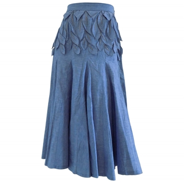 Carlito 1980s petal detail Blue denim vintage skirt