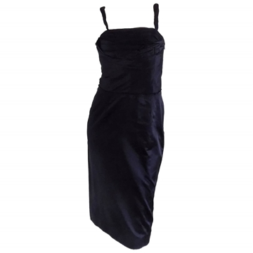Prada sleeveless twisted strap black vintage midi dress