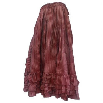 Jean Paul Gaultier 1970s Petticoat Style Flounced Bordeaux Red Vintage Maxi Skirt