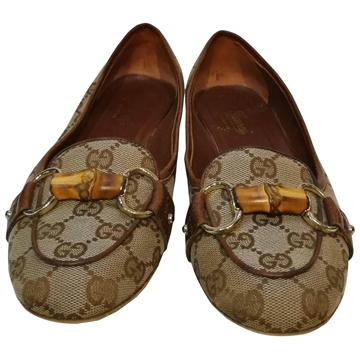 Gucci Bamboo Snaffle Monogram Patterned Brown Vintage Loafers