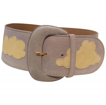 Moschino white clouds blue vintage belt