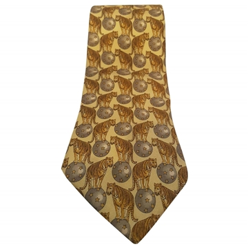 Gucci Tiger Circus Ball Silk Yellow Vintage Tie