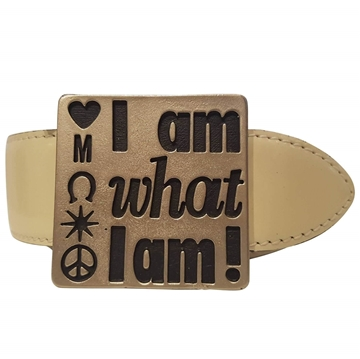 "Moschino ""I am what I am"" cream leather belt"