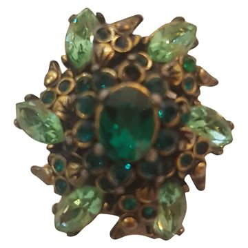 Hollycraft 1980s Jewelled Statement Green Vintage Ring