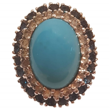 Panetta 1980s Large Oval Turquoise Colour Vintage Ring