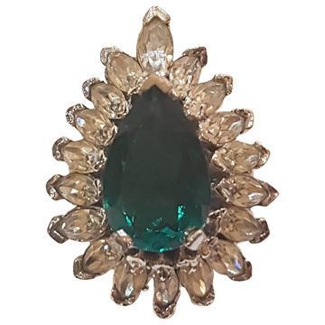 Panetta 1980s Crystal Green Vintage Ring