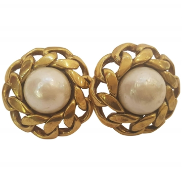Chanel Gold Tone White Faux Pearl and Curb Chain Vintage Earrings