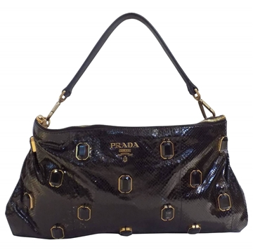 Prada jewel embellished snakeskin black shoulder bag
