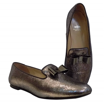 Moschino Glitter & bow detail loafer shoes