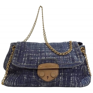 Prada denim tweed blue vintage shoulder bag
