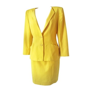 Christian Dior 1980s Yellow Vintage Skirt Suit