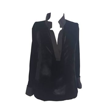 1990s Gucci by Tom Ford Velvet Black Vintage Blouse