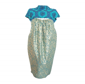 Burberry Prorsum Damask and Sequin Blue Vintage Bubble Dress