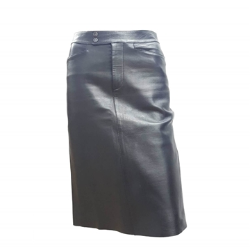 Gucci by Tom Ford 2000s Leather Black Vintage Midi Skirt