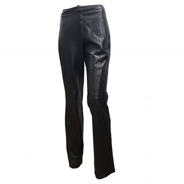 Gucci by Tom Ford 1990s Ribbed Leather Black Vintage Trousers