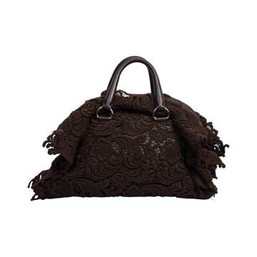 Prada Pizzo lace covered leather brown bowling bag