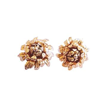 Napier 1970s gold tone metal floral vintage Earrings
