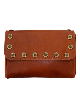 MOSCHINO 1980s Pebbled Leather brown Vintage Clutch Bag