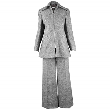 Ted Lapidus 1970s Wool grey Vintage Trouser Suit