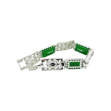 Kenneth Jay Lane 1970s crystal & silver green vintage necklace