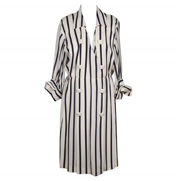 Andrea Odicini 1970s Silk Striped White & Navy Blue Vintage Shirt Dress