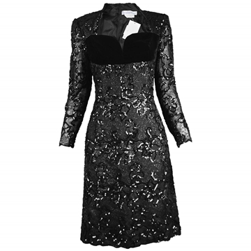 Givenchy 1990s Lace Sequin & Velvet black Vintage Dress