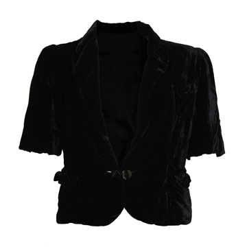 Vintage 1920s Silk Velvet Black Jacket