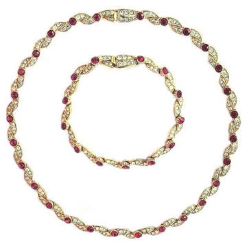 Attwood & Sawyer 1980s Crystal & Diamante red vintage Necklace & bracelet Set