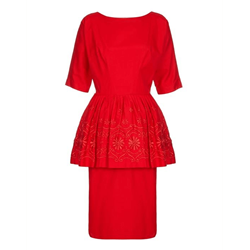 1950s Cotton Embroidered Peplum red vintage dress
