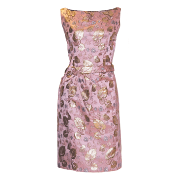 Vintage 1960s floral metallic Pink Cocktail Dress