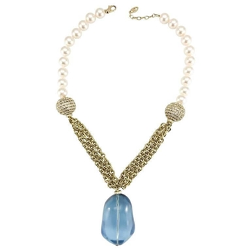 Valentino Pearl Chain & Large Blue vintage Pendant Necklace