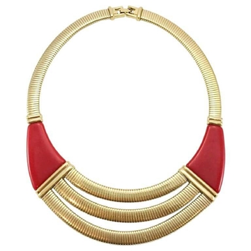 Givenchy 1970s  Art Deco Inspired Gold-Tone & Red vintage Necklace