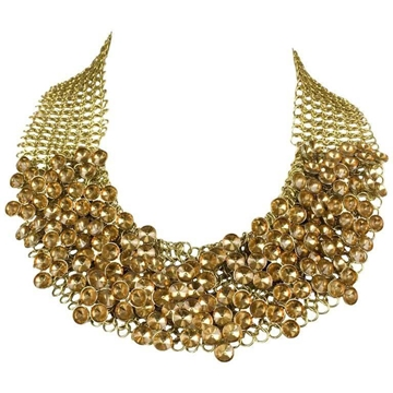 Celine 1990s chainmail gold tone Beaded vintage Necklace