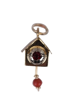 Vintage 18K Yellow Gold  & ruby Cuckoo Clock Pendant Charm