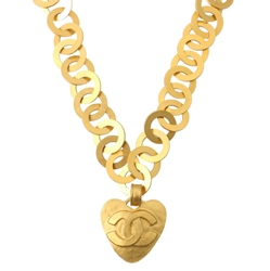 Chanel 1990s CC logo Heart Design gold tone Chain vintage Necklace