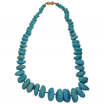 Vintage 1980s chunky real Turquoise & 18kt Gold Necklace