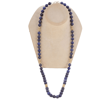 Picture of Vintage 1970s Lapis Lazuli & 18k gold Beaded vintage Necklace