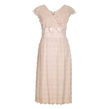 Vintage 1950s Lace Tiered pale pink Dress