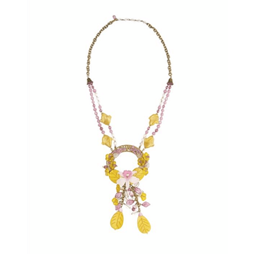 Miriam Haskell 1960s Glass Beaded yellow vintage Necklace