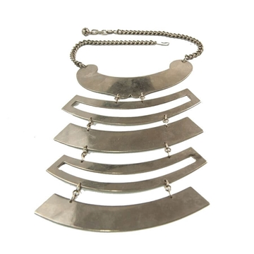 Paco Rabane 1970s geometric Plates silver vintage necklace