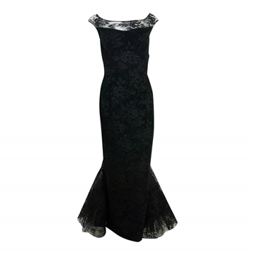 Mignon 1950s Lace Mermaid black vintage Dress
