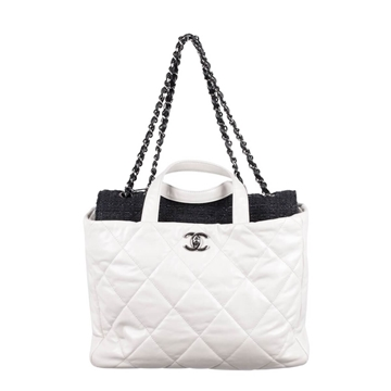Picture of Chanel White Quilted Leather Portobello Tweed Flap Tote Shoulder Bag Vg